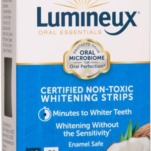 Lumineux Oral Essentials Teeth Whitening Strips – 21 Treatments – Dentist Formulated and Certified Non Toxic – Sensitivity Free – Whiter Teeth in 7 Days – NO Artificial Flavors, Colors, and SLS Free