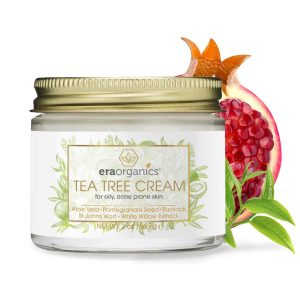 Tea Tree Oil Face Cream – For Oily, Acne Prone Skin Care Natural & Organic Facial Moisturizer with 7X Ingredients For Rosacea, Cystic Acne, Blackheads & Redness 2oz Era-Organics