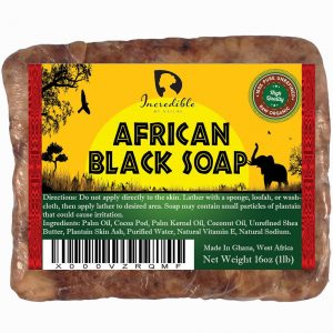 African Black Soap – 1lb Raw Organic Soap for Acne, Dry Skin, Rashes, Scar Removal, Face & Body Wash – Incredible By Nature