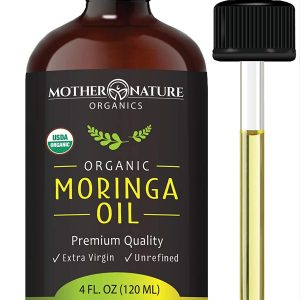 Organic Moringa Oil – Extra Virgin, Cold-Pressed, Unrefined – 4 oz Glass Bottle with Dropper – Natural Moisturizer For Skin Face, Body, Hair
